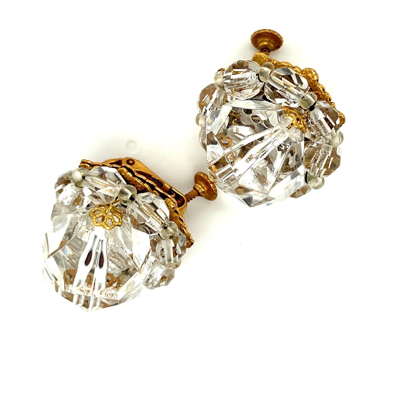 Miriam Haskell Crystal Ball Earrings 1950s