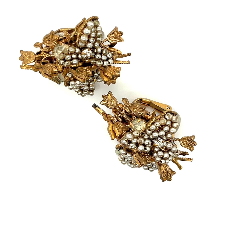 Vintage Miriam Haskell Seed Pearls Earrings