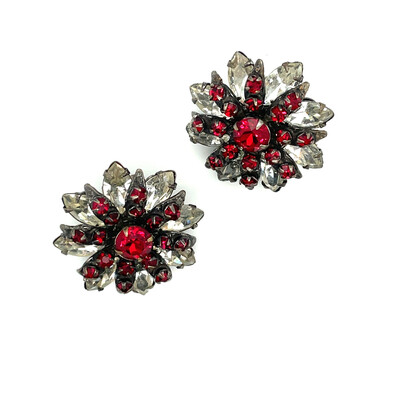 Miriam Haskell Faux Garnet Earrings