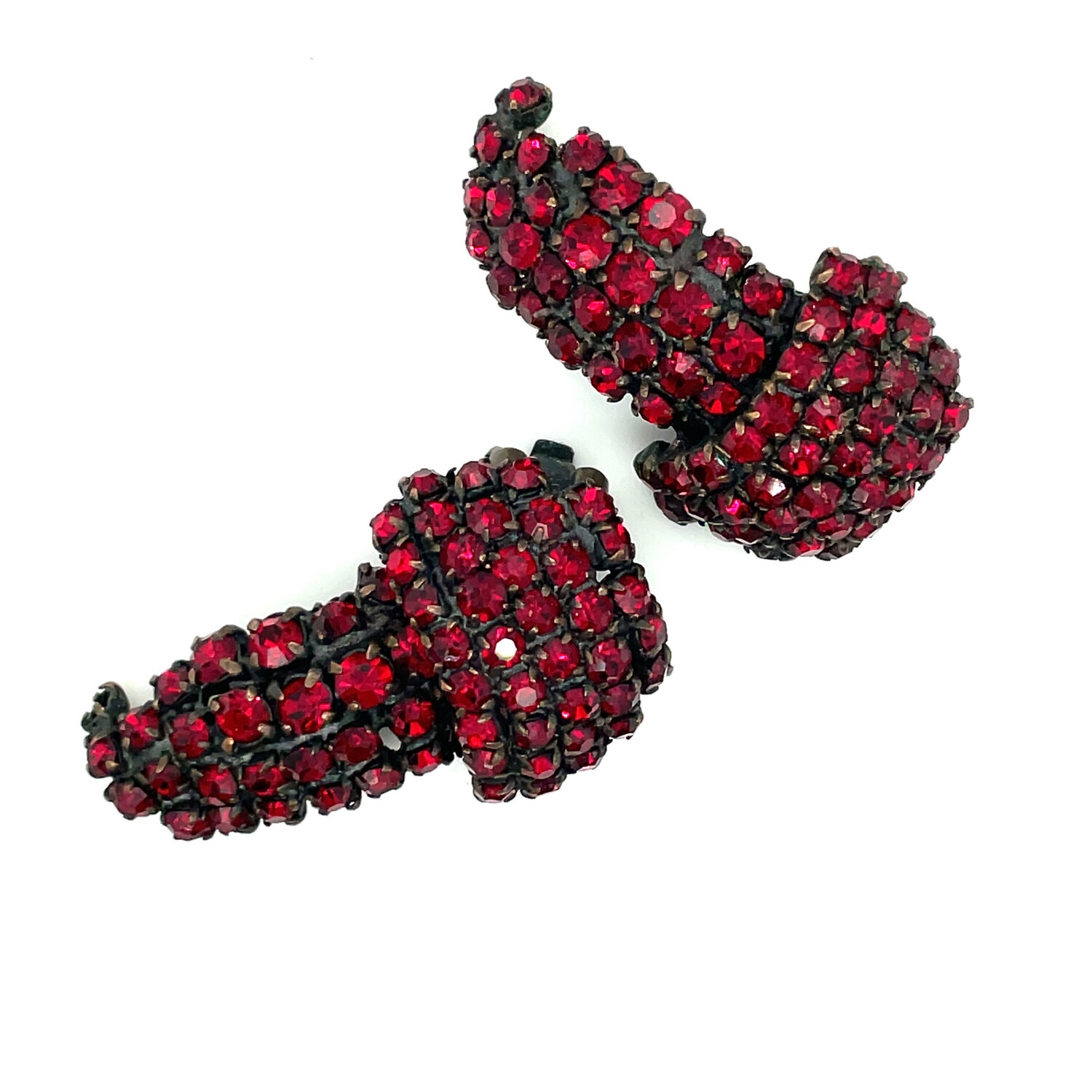 Vintage Faux Garnet Earrings 1950s
