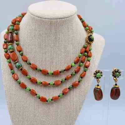 Vintage Miriam Haskell Faux Carnelian Necklace and Earrings set 1950s