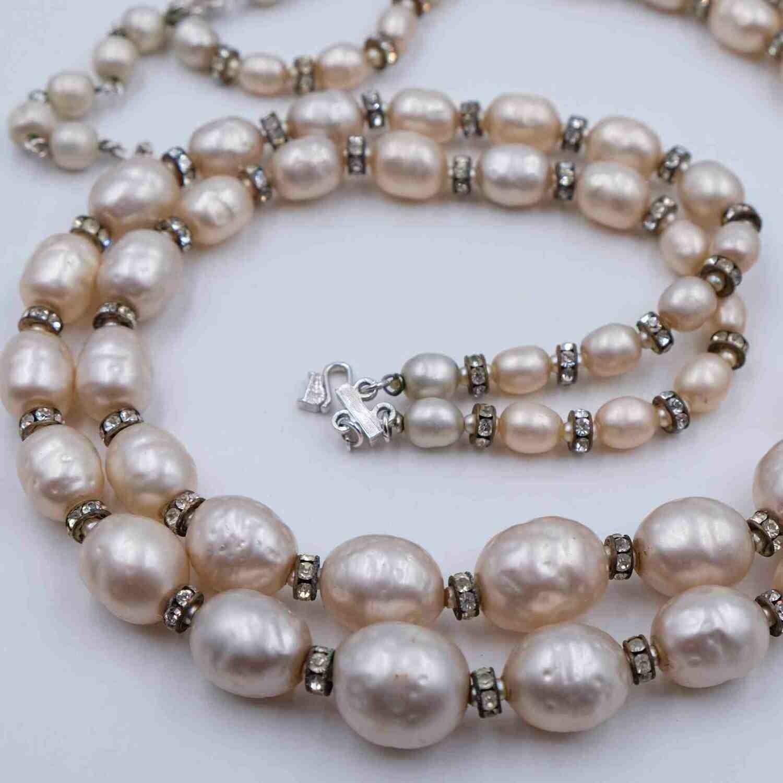 Vintage Vendome Double Strand Faux Pearls Necklace 1950s