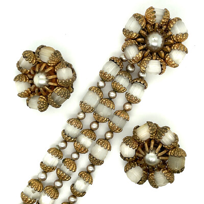 Vintage Miriam Haskell Bracelet and Earrings Set 1950s