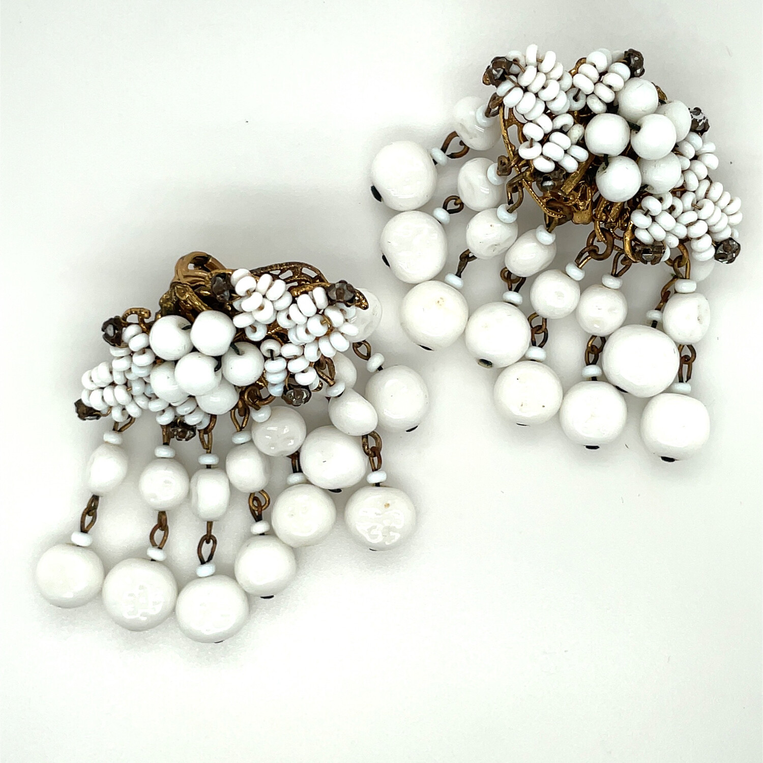 White Glass Miriam Haskell Earrings 1950s