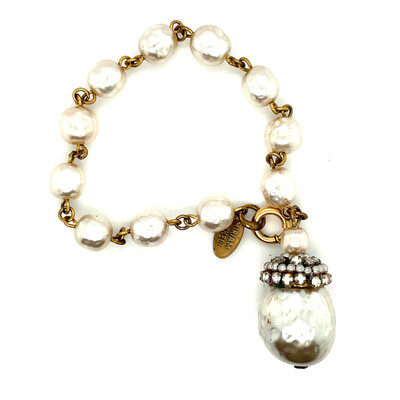Vintage Miriam Haskell Faux Pearls Drop Bracelet 1970s