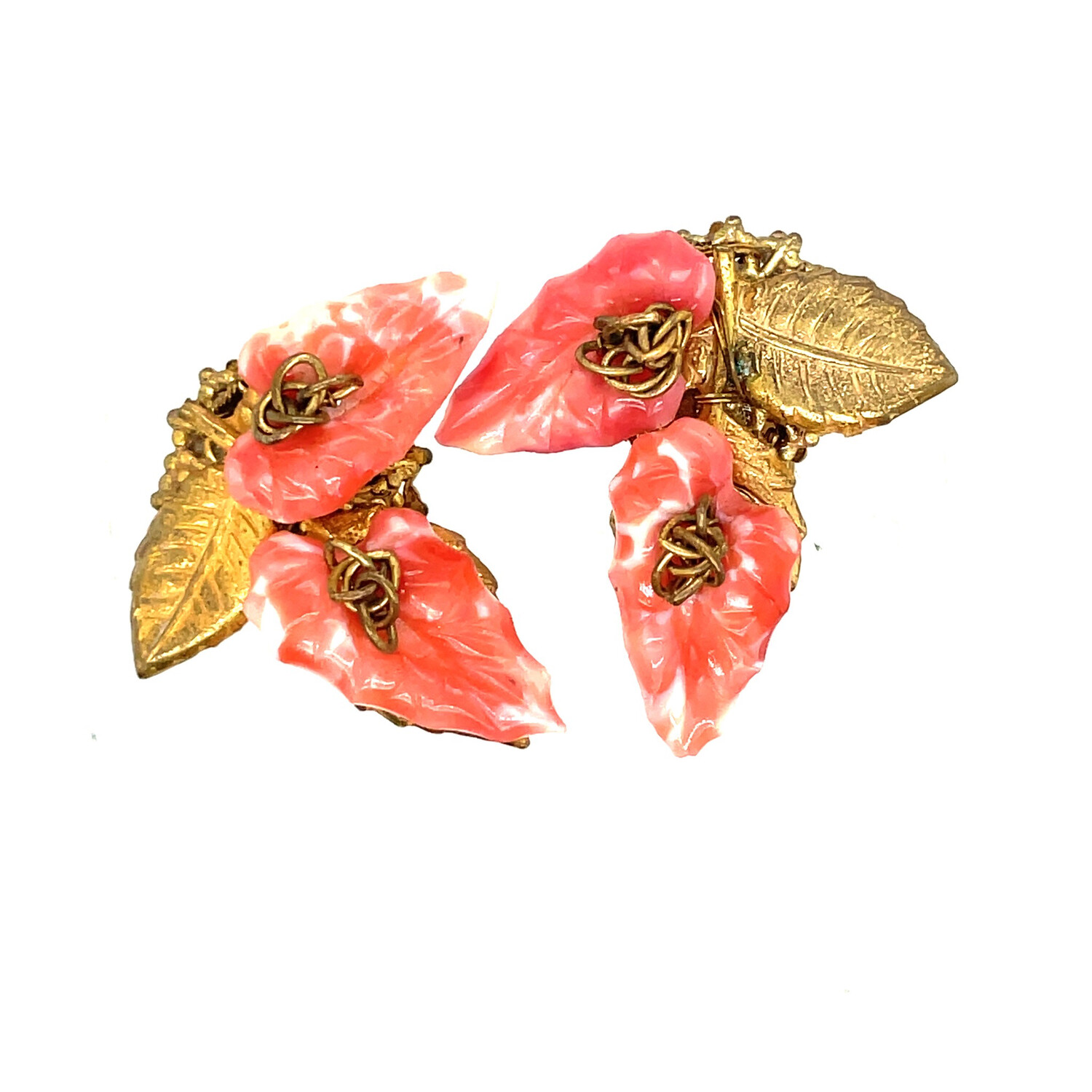 Tiny Peach Leaf Miriam Haskell Earrings 1950s