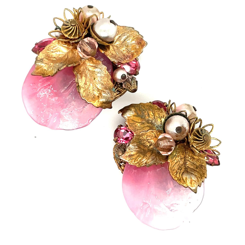 Vintage Eugene Pink Petals Earrings 1960s