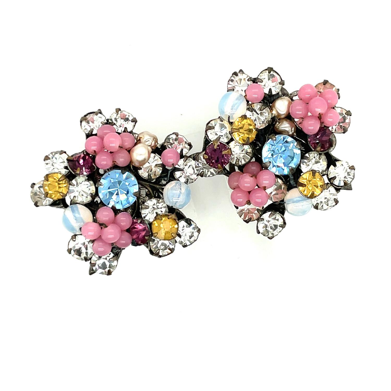 Vintage Spring Flowers Miriam Haskell Earrings 1950s