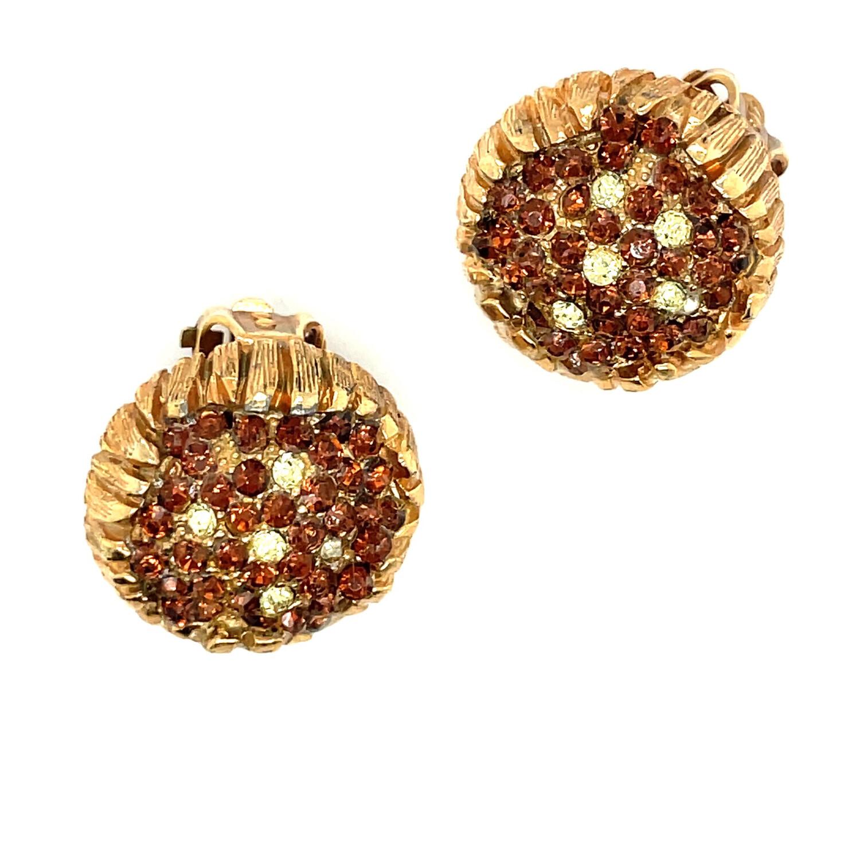 Elsa Schiaparelli SunFlower Rhinestone Earrings 1950s