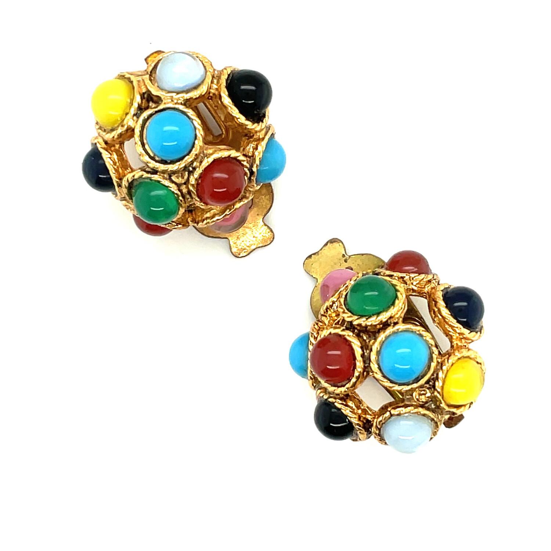 West Germany Multicolor Earrings 1950s