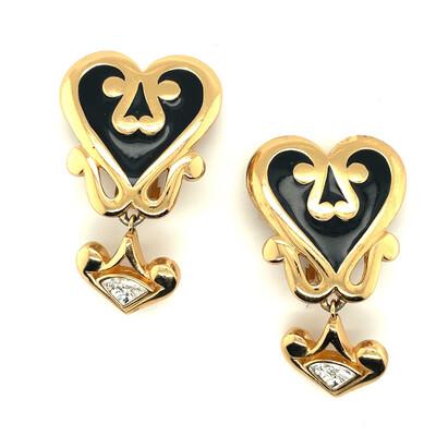 Christian Dior Black Enamel Earrings 1990s