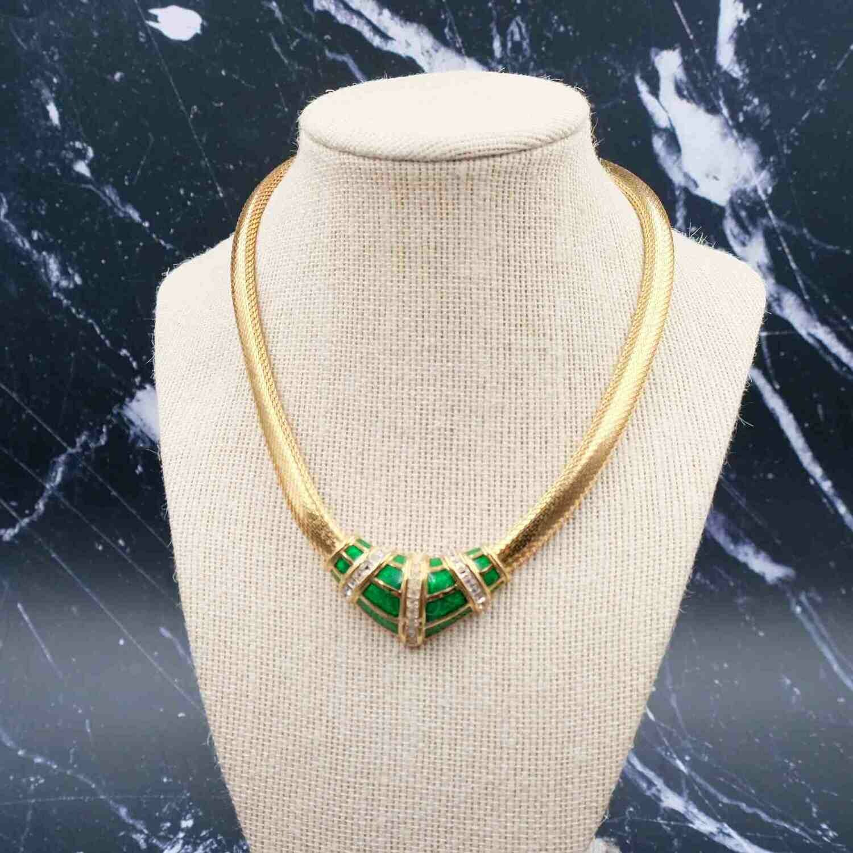 Christian Dior Green Enamel Choker 1980s