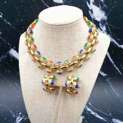 Vintage Unsigned Necklace and Earrings Set 1980s