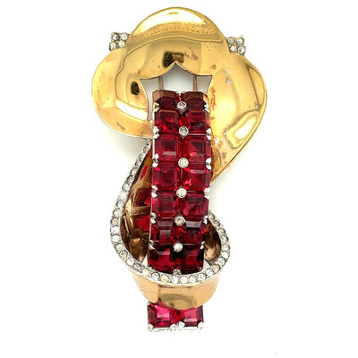 Mazer Sterling Faux Ruby Dress Clip 1940s