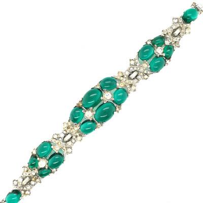 Vintage Art Deco Bracelet Green Cabochons 1930's