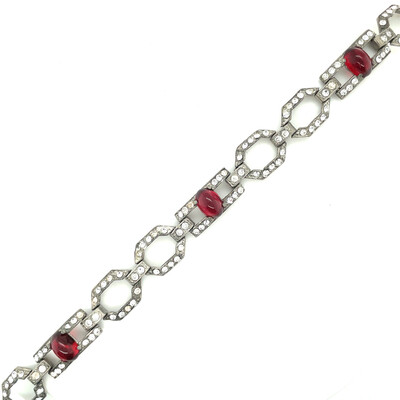 Vintage Art Deco Red Ruby Glass Bracelet 1920's