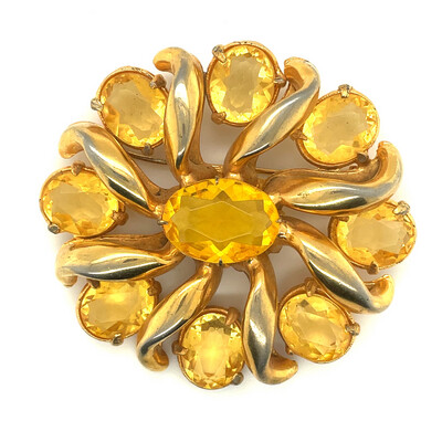 Vintage Unsigned Faux Citrine Brooch 1940's