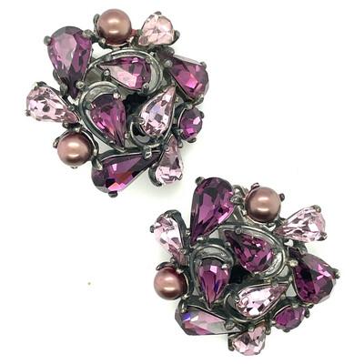 Vintage Elsa Schiaparelli Purple Earrings 1950's