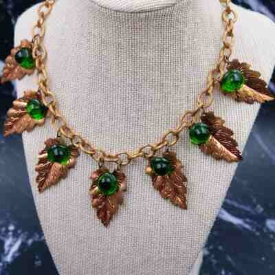 Vintage Early 1930s Brass Metal Leaf Necklace