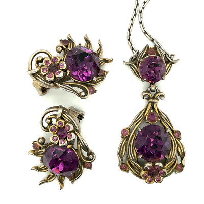 Vintage Hollycraft Purple Necklace and Earrings 1950s