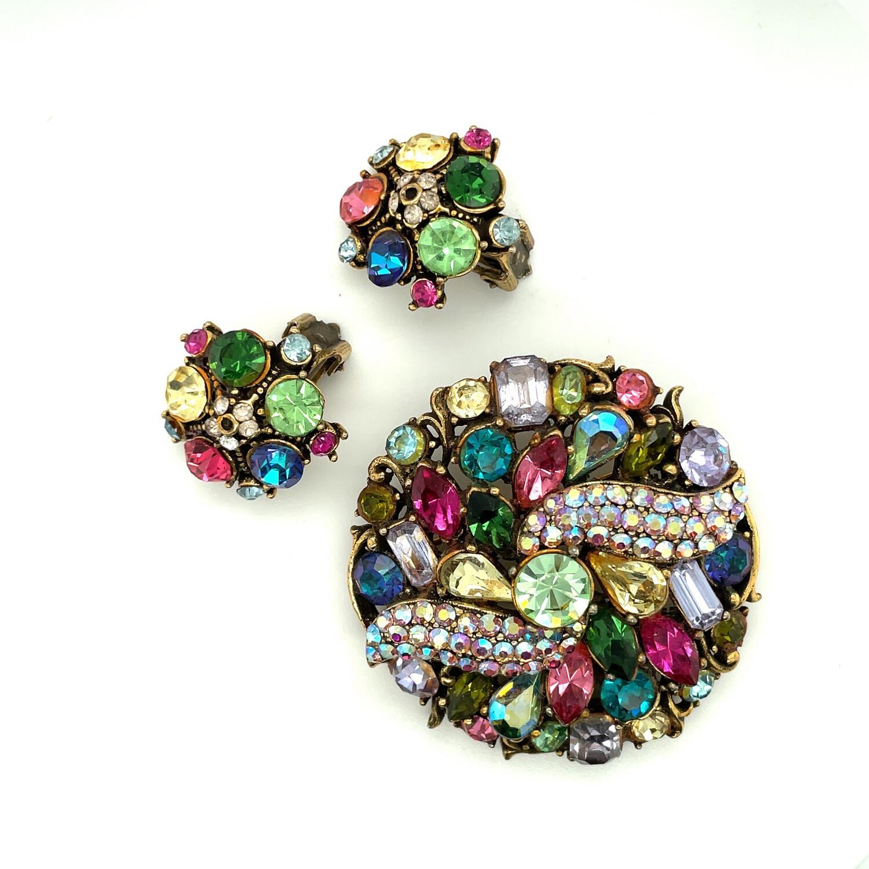 Hollycraft Vintage Set Brooch and Earrings 1950s