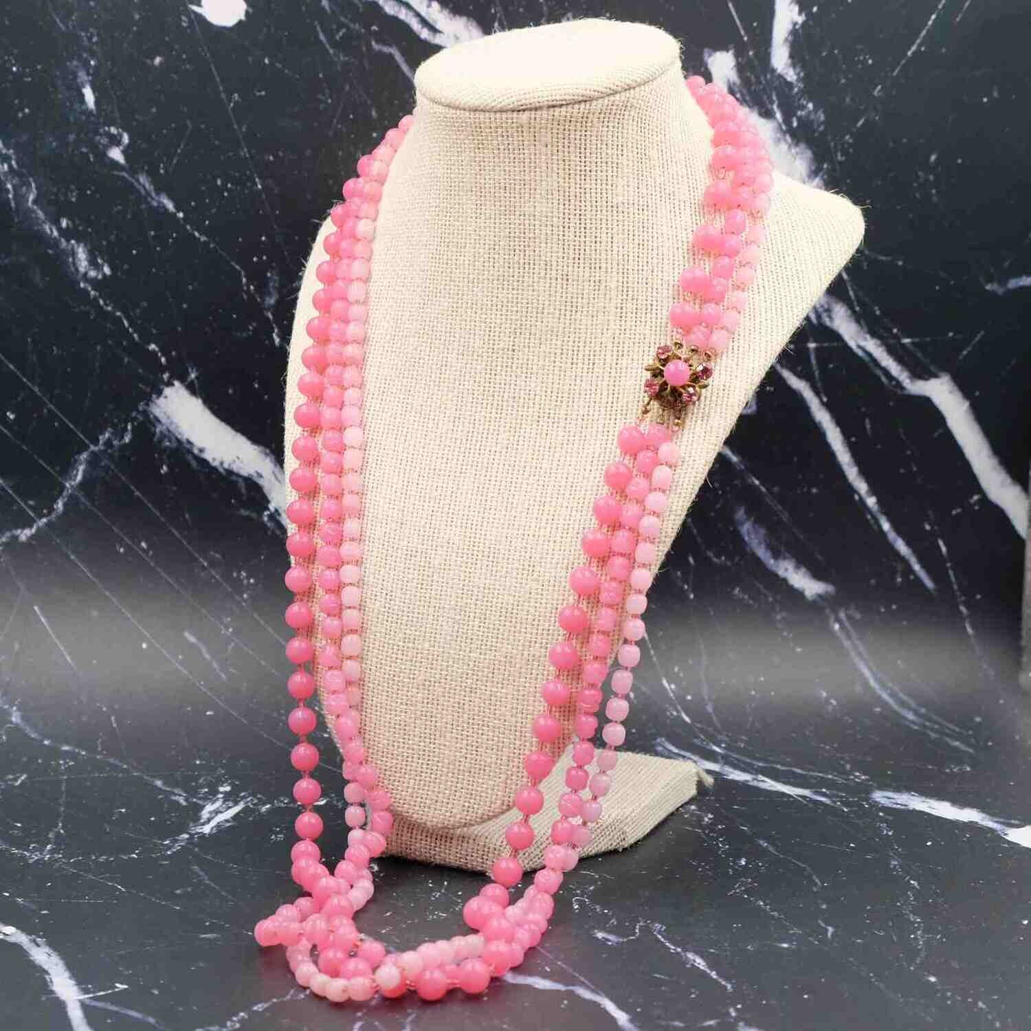 Vintage Miriam Haskell Pink 3 row Glass Necklace 1950's