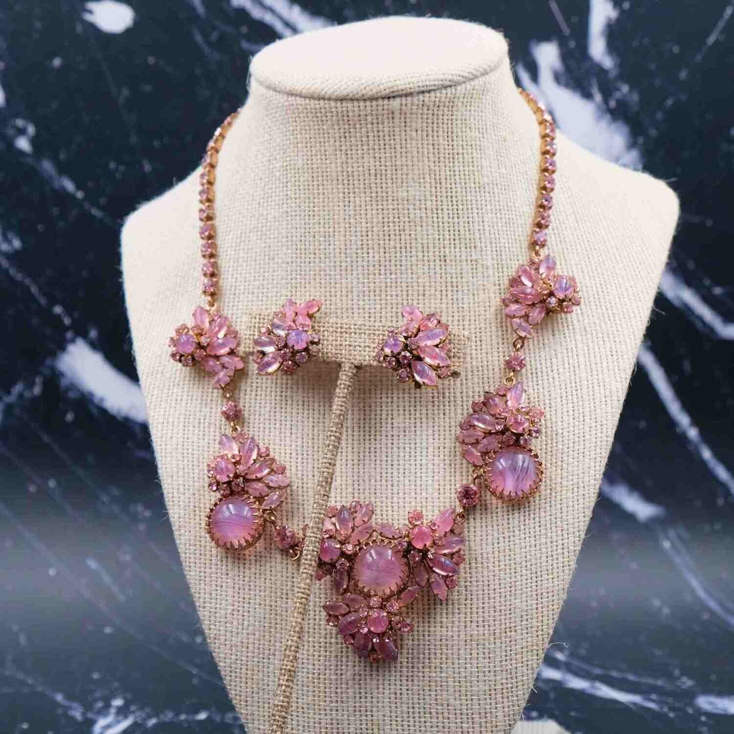 Vintage Schuberth Necklace and Earrings set 1950's Made in Austria