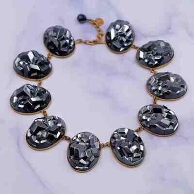 Yves Saint Laurent Early YSL Lava Rock Crystal Necklace 1970's