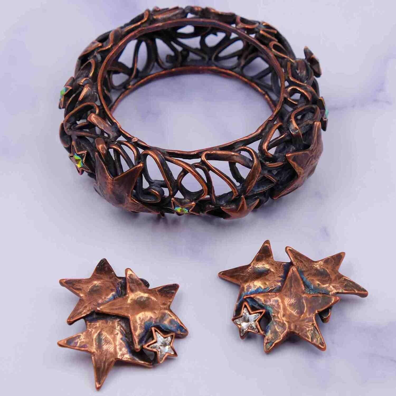 Vintage YSL Yves Saint Laurent Rive Gauche Bracelet and Earrings Stars Set 1970's