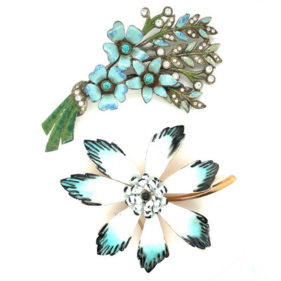 Vintage Brooches Blue Flowers Corocraft And Early 1930's