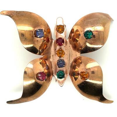 Unusual Huge Butterfly Brooch 1940's