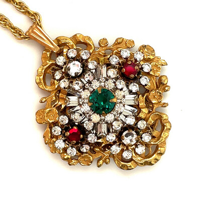 Vintage Miriam Haskell Pendant Necklace 1970's
