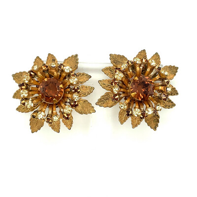 Vintage Miriam Haskell Flower Earrings 1960's