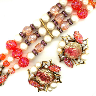 Vintage Schiaparelli Orange Lava Bracelet and Earrings Set 1950's