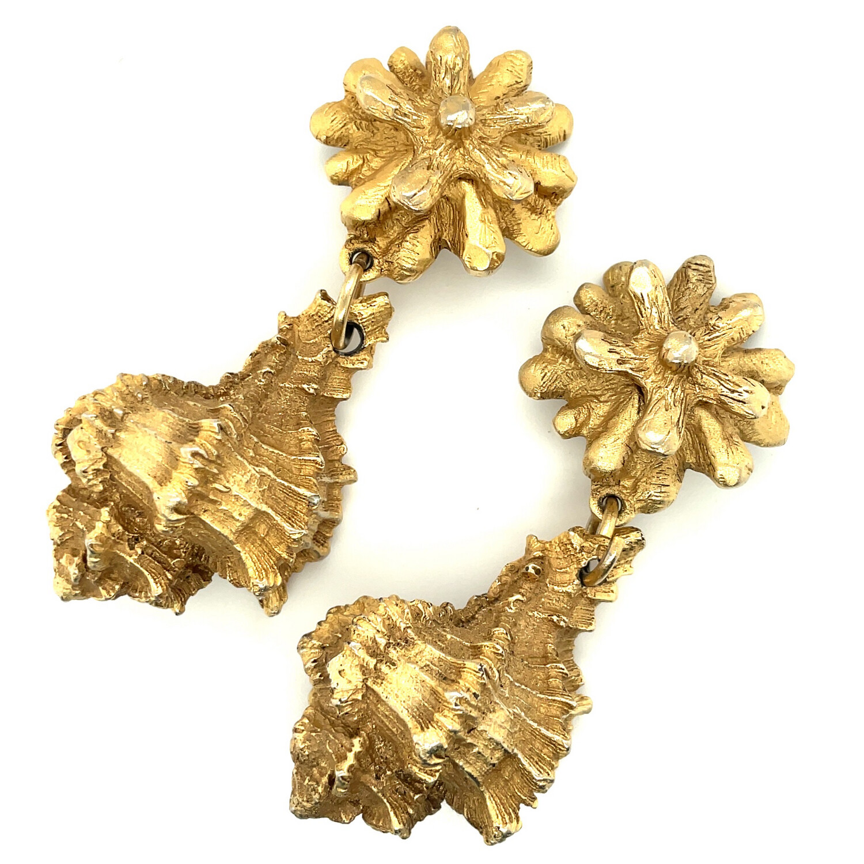 Vintage Designer Unsigned Sea Earrings 1990's