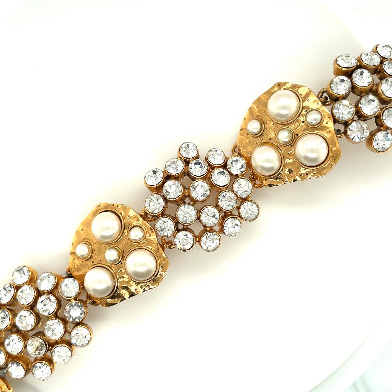 Vintage Designer Faux Pearls Bracelet 1980's