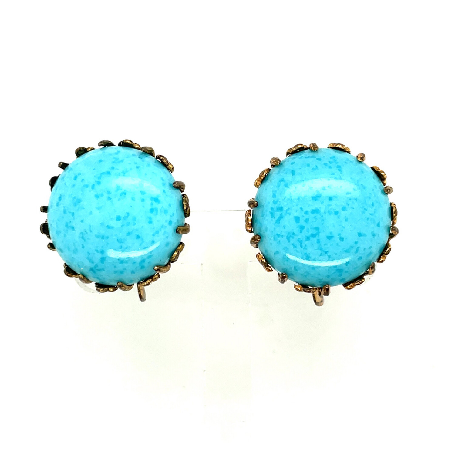 Vintage Miriam Haskell Glass Turquoise Earrings 1950's