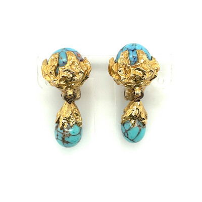 Vintage Christian Lacroix Tiny Turquoise Earrings 1990's