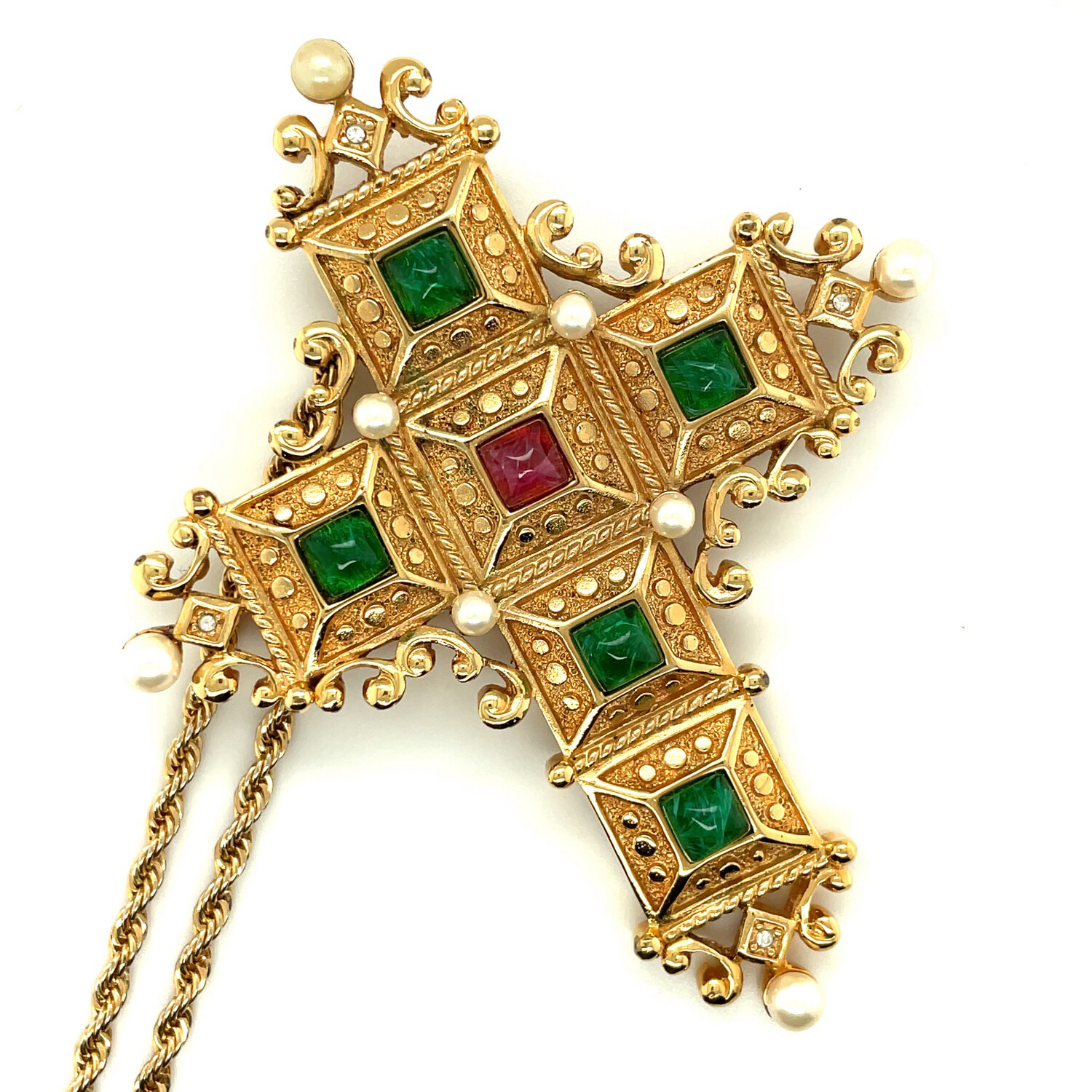 Vintage Christian Dior Collectible Cross Necklace and brooch 1980's