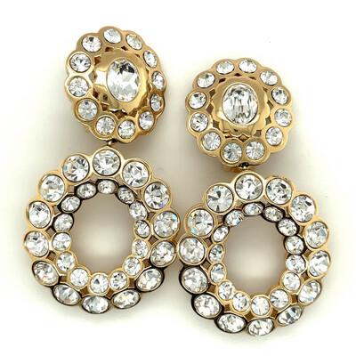 Vintage Christian Dior Rhinestones Earrings 1990's