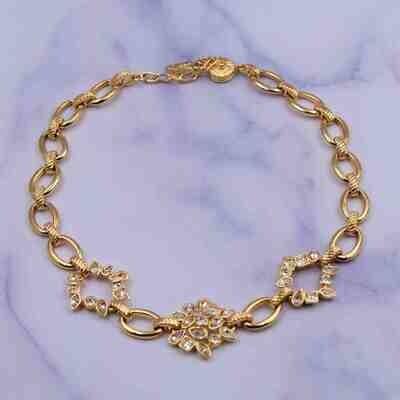 Vintage YSL Yves Saint Laurent Rhinestones Necklace 1990's