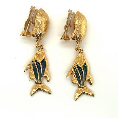 Vintage YSL Yves Saint Laurent Fishes Earrings 1990's