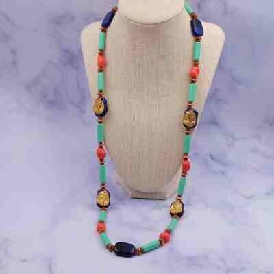 Vintage Miriam Haskell Larry Vrba Design Glass Sotuar Necklace 1970's