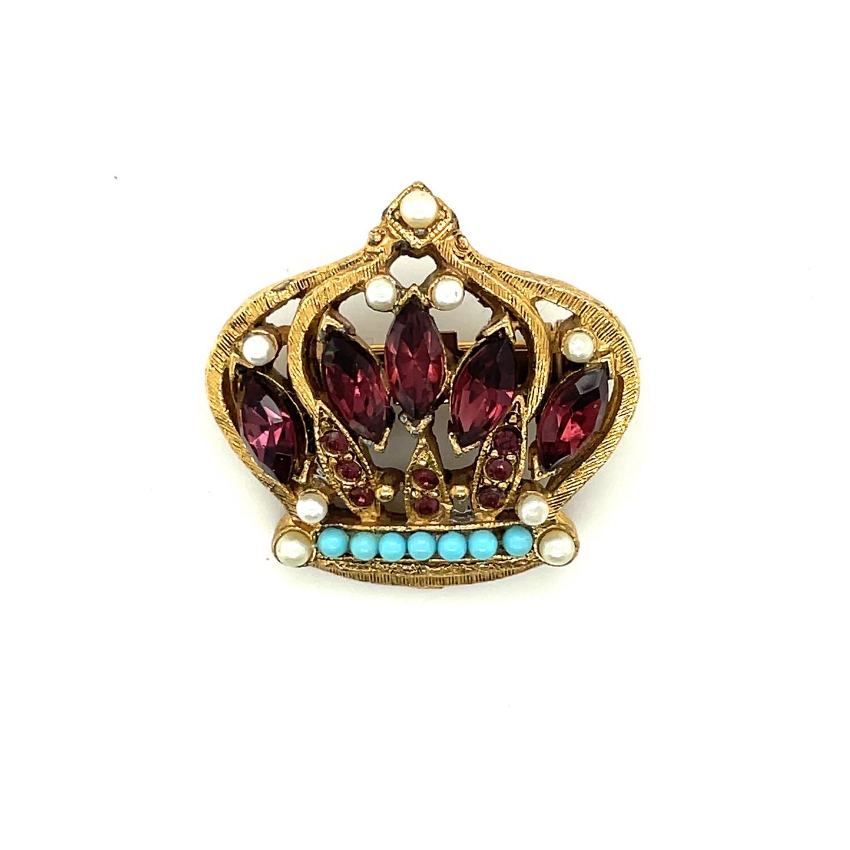 Vintage Mini Crown Brooch 1960's