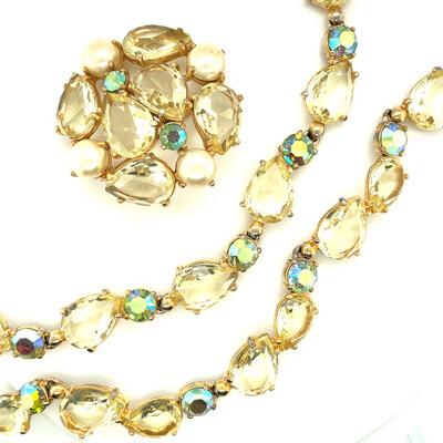 Vintage Elsa Schiaparelli 3pc Set Brooch, Bracelet and Necklace 1950's
