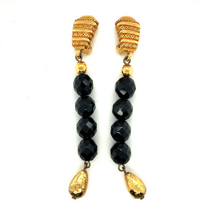 Christian Dior Boutique Black Earrings 1980's