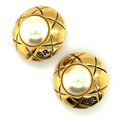 Vintage Sonia Rykiel Round Faux Pearls Earrings 1990's
