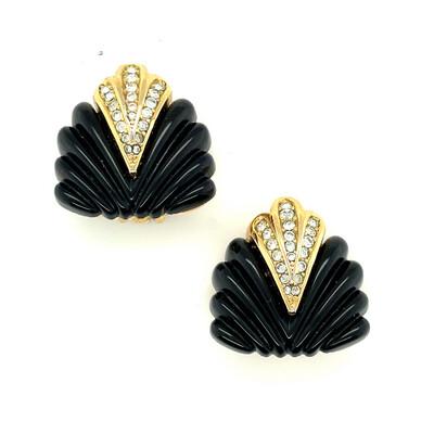 Christian Dior Black Shells Earrings 1990's