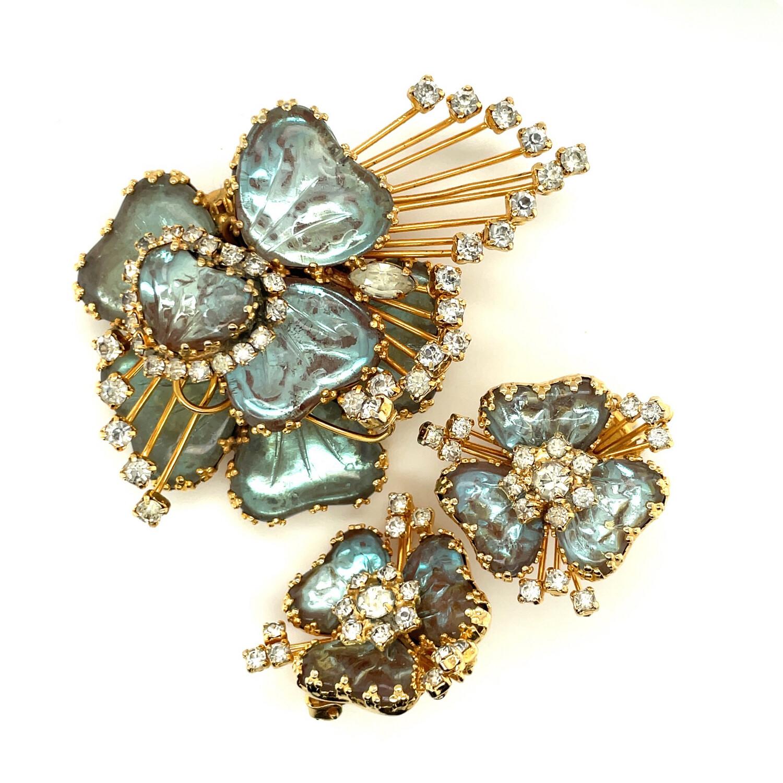 Vintage Hobe Saphiret Set Brooch and Earrings 1957