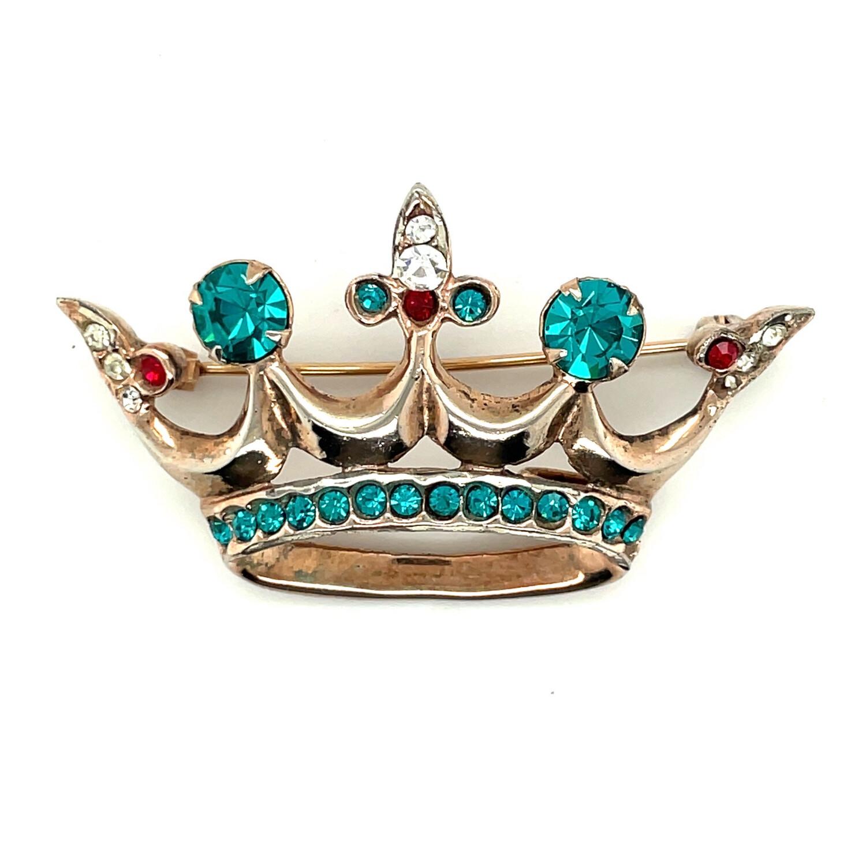 Vintage Sterling Crown Brooch 1940's